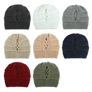 fashion Trendy Warm Stretch Cable Knit Beanie solid color winter sports running hat caps 8 colors