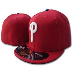 جديد وصول الرجال فيليز أحمر اللون المجهزة القبعات فريق التطريز شعار الرياضة الكامل مشجعي البيسبول مغلقة قبعات مسطحة قناع القبعات البيسبول