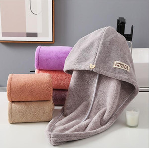 Dry Hair Towels Microfiber Dry Hair Bath Towel Absorbent Quick Drying Turban Wrapped Hair Hat Shower Cap Bathroom Accessories YYS3414