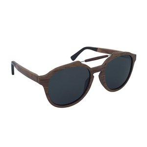 Oval Cat Eye Shape Double Bridges Metal Wood Sunglasses with Acetate Temple Tips