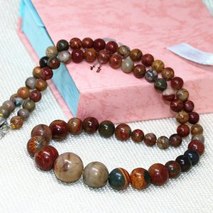 Natural stone beads multicolor picasso 6-14mm round beads wholesale fashion diy choker chain necklace for women 18inch B613