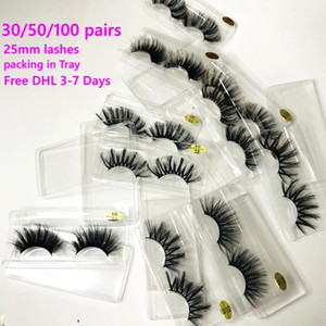 30 50 100Pairs Free Ship Packing In Tray Wholesale 25mm 3D Mink Eyelashes 5D Mink Lashes Label Makeup Dramatic Long Lashes