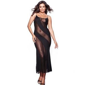 Nachthemd Frauen Sexy Erotische Dessous Kleid Nachtwäsche Plus Größe 4XL 5XL 6XL Strappy Mesh Lange Nacht Kleid Nachtwäsche Sleepshirts Y200425