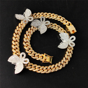 Hotselling Hips Hops Bling Jewelry Full Diamond Butterfly Cuban Chain Necklace Crystal Cuban Link Butterfly Choker Necklace