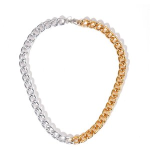 52023 New Designer Clavicle Chain Creative Designer Thick Chain Gold Silver Splicing Necklace 52023 New jllTSX bdecoat