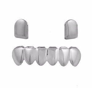 18k Gold Plated Copper Teeth Braces Plain Hip Hop Up 2 Bottom 6 Teeth Grillz Dental Mouth Fang Grills Tooth Cap Cosp wmtmLm otsweet