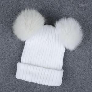 Beanie / черепные колпачки зимняя шляпа для женщин-девочки мяч шапка POM Poms вязаные шапочки толстые женские плетеные крючком Caps1