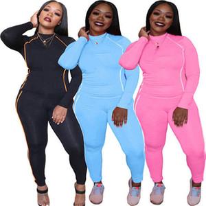Mulheres Roupas Moda Sweatsuit 2 Piece Set Hoodies + Calças Terno Esportivo Outono Inverno Sportswear Manga Longa Tracksuit Letra Terno 3706