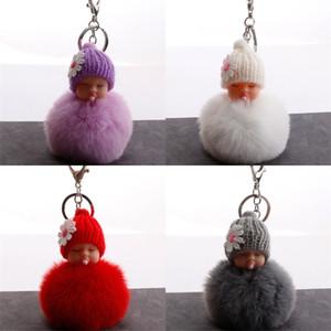 Nippel Puppe Schlüssel Schnalle Hairball Autos Tasche Schlafendes Baby Anhänger Zubehör Schlüssel Ringe Mode Niedlichen Schmuck Solide Farbe Heißer Verkauf 2 5Qs M2