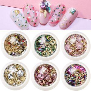 Manufacture 1 Pot Mix Design Colorful Glitter Shiny 3D Flat Bottom Arylic Diamond Studs Nail Art Rhinestones Gems Decorations DIY Tip
