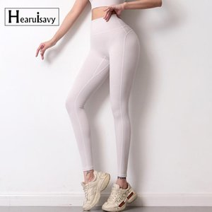 Hearuisavy Femmes Serrer Non Trace Yoga Pantalon Soft Sweat-Absorbant Design Entraînement Leggings de couleur Solide taille haute