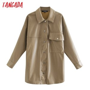 Tangada 2020 Autumn Winter Women khaki faux leather jacket coat Ladies Long Sleeve loose oversize boy friend 3H735