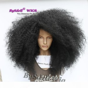 Premium Big Afro Kinky Cheveux Curly Perruque Synthétique Dentelle Avant Perruque Curly Devrait longueur Kinky Curly Black Woman Full Dentelle Front Perruques