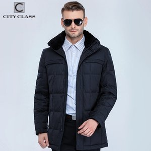 CITY CLASS Business New Men Fashion Jackets Coats Long Casual BioDown Removable Fur Collar Men Winter Thick Jacket Parkas 13291 201118