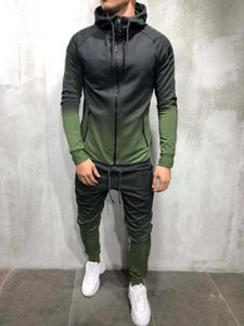 High quality Men's leisure sports Hoodies+elastic pants 2-piece Sets European American comfortable running Suits