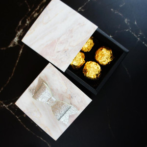 8.9*8.9*3.5CM natural marble pattern 10 set Chocolate Paper Box valentine Christmas Birthday Party Gifts Packing Storage Boxes