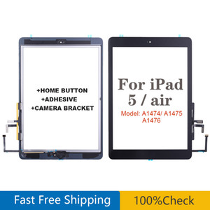 For iPad Air 1 iPad 5 Gen Touch Screen Digitizer Glass with Home Button sticker A1474 A1475 A1476 Panel Replacement