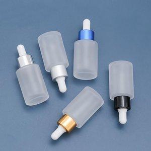 Cosmética Pequeña botella de vidrio helada 30 ml Contenedor de vidrio con botella de aceite Spray vacío transparente