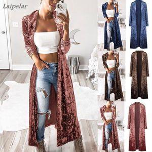 Mujer Slim Fit de manga larga frente abrigo de terciopelo abierto Long Maxi Casual Cardigan Coat LAIPELAR