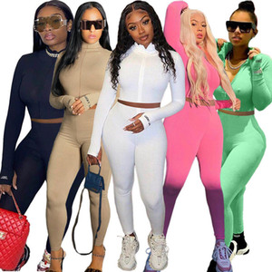 Women Tracksuits Two Pieces Set Nightclub High Collar Embroidered Letter Zipper Sports Outfits Ladies Sportwear New Y8ML