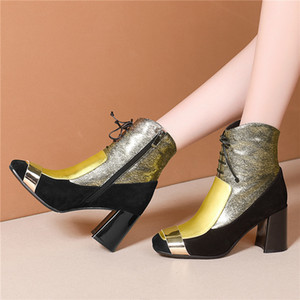 Hot Sale FEDONAS 2020 Women Autumn Winter Genuine Leather Ankle Boots Zipper High Heels Short Boots Fashion Party Night Club Shoes Woman