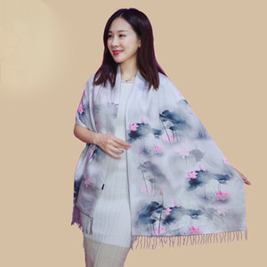 Winter Warm Flower Print Silk Scarf Cashmere Women Chinese Oil Painting Double-sided Scarves womens scarf Wraps Fashion Shawl foulard