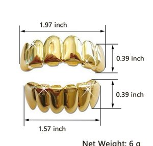 18k Real Gold Braces Punk Hip Hop Teeth Grillz Dental Mouth Fang Grills Up Bottom Tooth Cap Cosplay Party Ra wmtIhK dayupshop