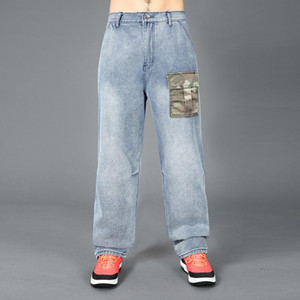 Jeans for Men Mens Modis Straight Denim Cargo Pants Biker Jeans Men Baggy Large Size 30-44 46 Blue