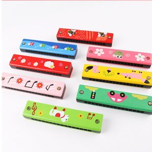 Double row sixteen hole children's wooden rainbow harmonica creative Montessori early education toy musical instrument new strange parent-ch