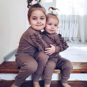 Ins in baby gilrs наряды толстовки Детские хлопковые рюмки с длинным рукавом джемпер + повседневные брюки 2шт детские спортивные комплекты A5299