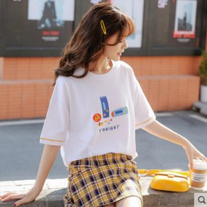T Shirt Female summer short sleeve cotton loose student 2020 new Ins trend casual casual half sleeve dress C