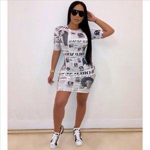 New Summer Fashion Women Dresses Newspaper Printed Short Sleeve Bodycon Mini Dress Drop Shipping Good Quality