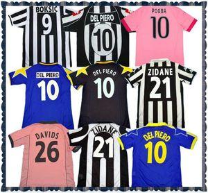 84 85 95 96 97 02 03 11 Version rétro Jersey Soccer Del Piero 10 # Inzaghi 9 # Zidane 21 Davids 26 Davids 26 Champions League Patch 97 98 Chemise de football