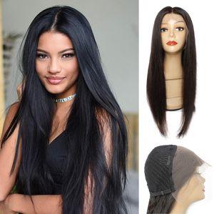 Kissyair 13x4 encaje peluca frontal color natural peluca de pelo humano recto pelucas pre-arrancadas pelucas de encaje frontal brasileño
