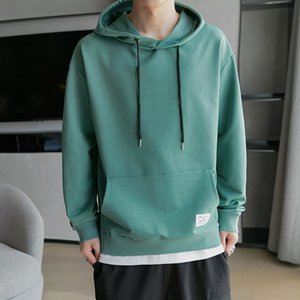 2021 New Casual Hoodies Men Solid Color Long Sleeve Hooded Fashion Streetwear Mens Sweatshirts Autumn New Arrival Cotton Hoodie H24B