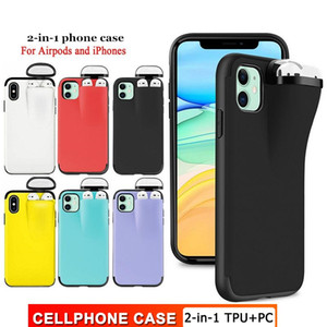2 In 1 Headset Caps Phone Case Earphone Storage Box For iPhone XS Max Airpods 1st Generation Shockproof Solid Color Back Cover