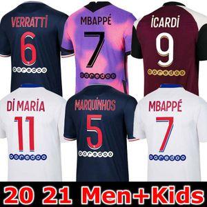 Maillots 2020 2021 Fourth MBAPPE ICARDI soccer jerseys 20 21 4TH football shirts FLORENZI VERRATTI kits kids MARQUINHOS uniforms