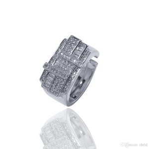 New Iced Out Gold Silver Cross Square Rhinestone Ring Adjustable Mens Rings Hip Hop Jewelry Wholesale