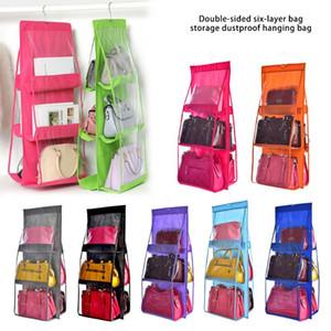 6 Pocket Foldable Hanging Bag 3 Layers Folding Shelf Bag Purse Handbag Organizer Door Sundry Pocket Hanger Storage Closet Hanger