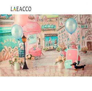 Laeacco pembe balonlar suluboya şehir dükkanı sokak doğum günü partisi bebek portre fotoğraf arka plan fotoğraf backdrop photostudio1