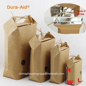 Dura-Aid 50pcs L14*W8*H20.5cm resealable paper bag for Gift Rice Snack packaging kraft bags window free shipping