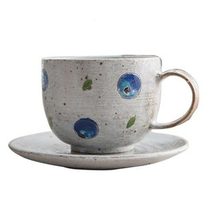 Vintage Coarse Pottery Coffee Mug with Saucer 230ml Creative Hand Painted Coffee Breakfast Milk Cup Ceramic Drinkware Crafts