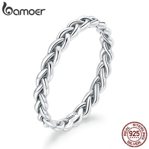 bamoer Real 925 Sterling Silver Pink Braided Texture Ring For Fashion Women Cute Fine Jewelry wedding Accessories Gift BSR161