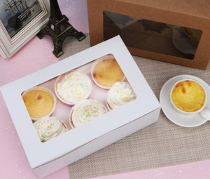 Windowed Cupcake Boxes White Brown Kraft Paper Box Gift Packaging For Wedding Festival Party 6 Cup Cake Hold bbyHai ladyshome