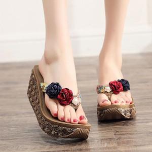 Bohemia 2019 New High Heel Non Slip Sandals Women's Summer Seaside Beach Shoes Thick Bottom Clip Foot Flip Flops