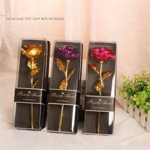 Valentine Lover Gifts Wholesale Single Gold Flower PVC Gift Box Rose Carnations With Gold Leaf Valentine Birthday Presents A12