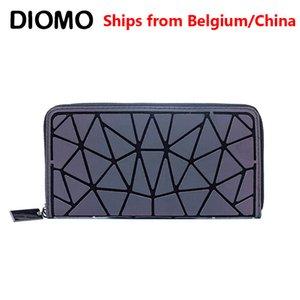 Weibliche Frauen Brieftasche Reißverschluss Slim Geld Clutch Geldbörsen Geometrische Diomo Brieftaschen Lange Tasche dünn leuchtend goqio