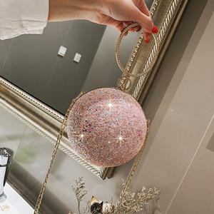 2020 المرأة مساء يوم الفاصل كريستال ملون الماس الكرة المستديرة على شكل قبضة اليد حقيبة يد سيدة زفاف سلسلة المحفظة الكتف حقيبة C1116