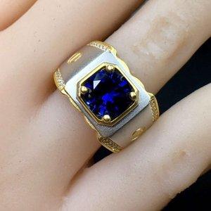 Новый человек мускулистые силовые кольца синий драгоценный камень сапфировые кольца ювелирные изделия подарок размер 8 мм * 8 мм синий цвет 925 серебристый золотой цвет человек подарок J0112