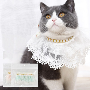 Dog Lace Necklace Rhinestone Puppy Collar Pet Products Dog Supplies Pet Charm Pearly lace pet scarf Accessory GWA2635